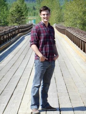 Joel on a bridge in McBride