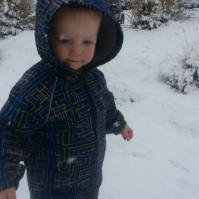 Tim's son playing in snow