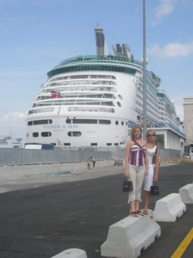 Melissa by a cruise ship