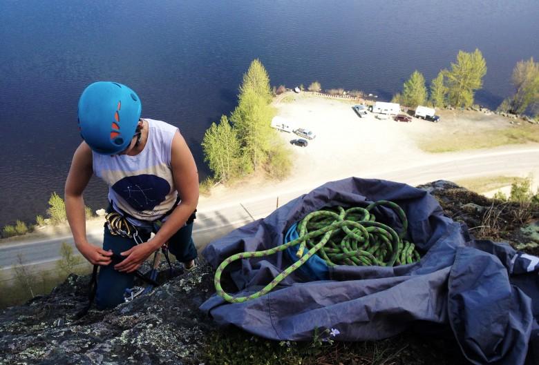 Climbing a roadside mountain