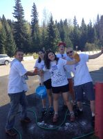Volunteering at a car wash fundraiser