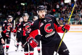Prince George Cougars players celebrating