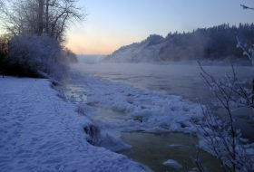 Snowy banks of the Nechako River