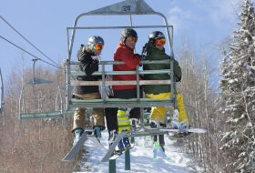 Skiing and boarding at Tabor Mountain