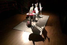 Art easels set up for an Art Battle