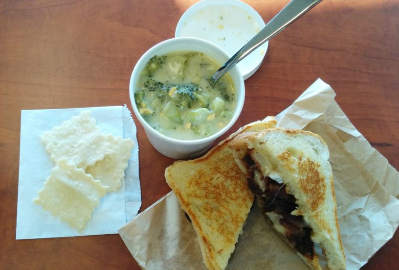 Soup, sandwich and crackers
