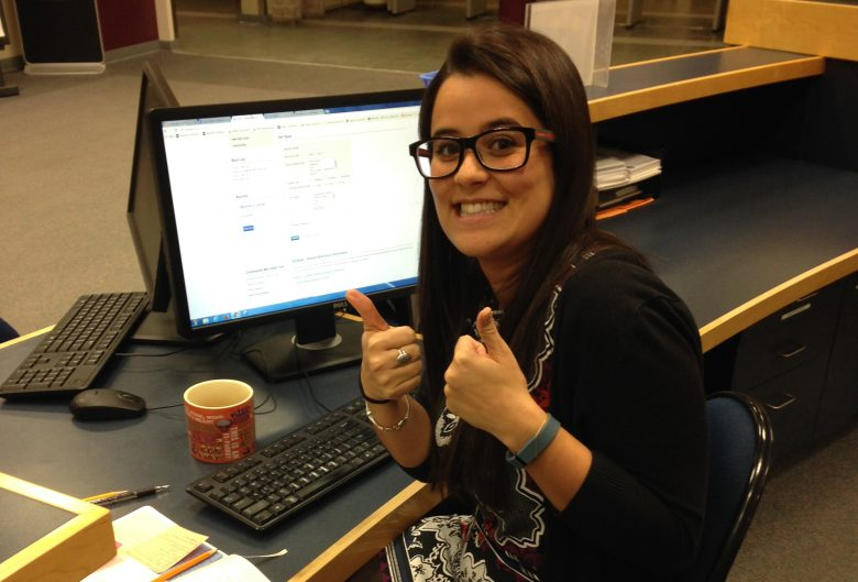 Sajni working at the UNBC library