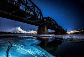 Train bridget at night
