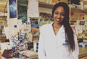 Fatimat in a lab at UNBC
