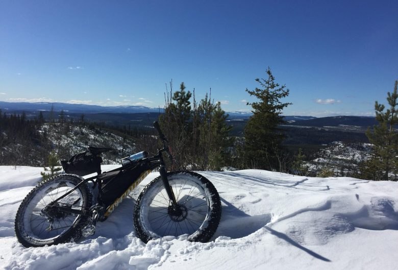 Fat bike in the snow.