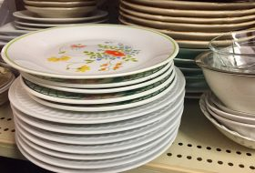 dishes on a shelf