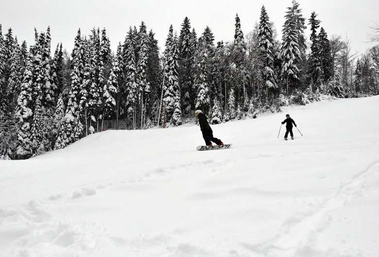 people snowboarding and skiing