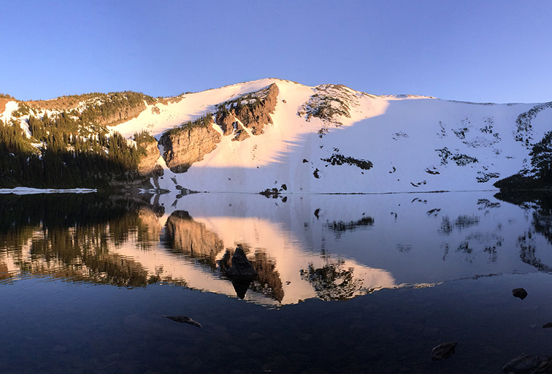 mountain reflection on water