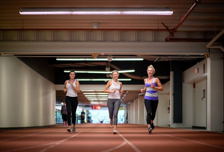 women running on a track