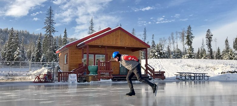 man skating ice oval