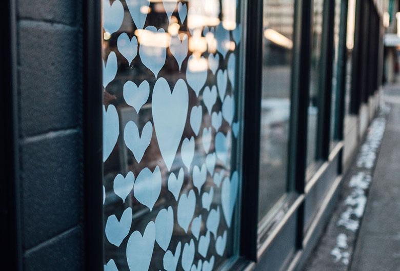 Hearts in a store window
