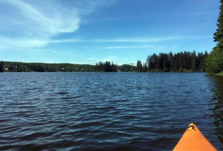 Tip of a kayak on Berman Lake.
