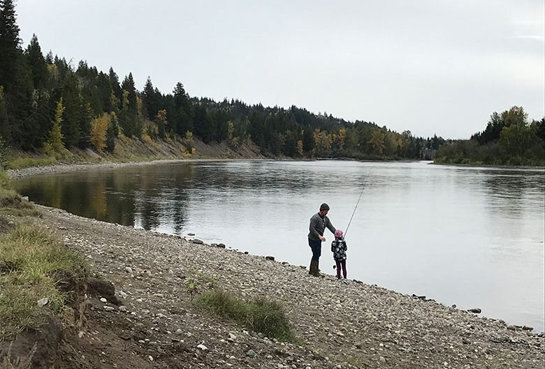 Man fishing with child.