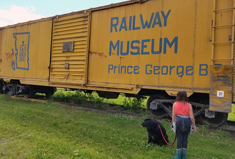 Girl and her dog standing by a train.