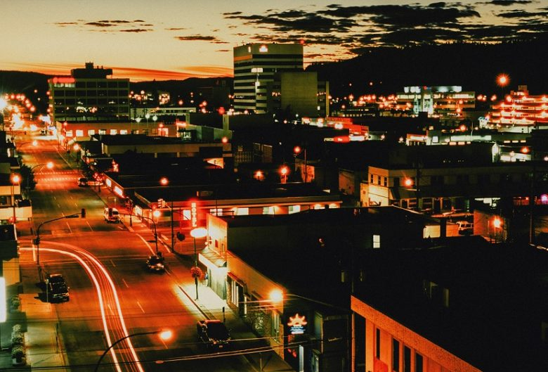 Downtown Prince George at night.