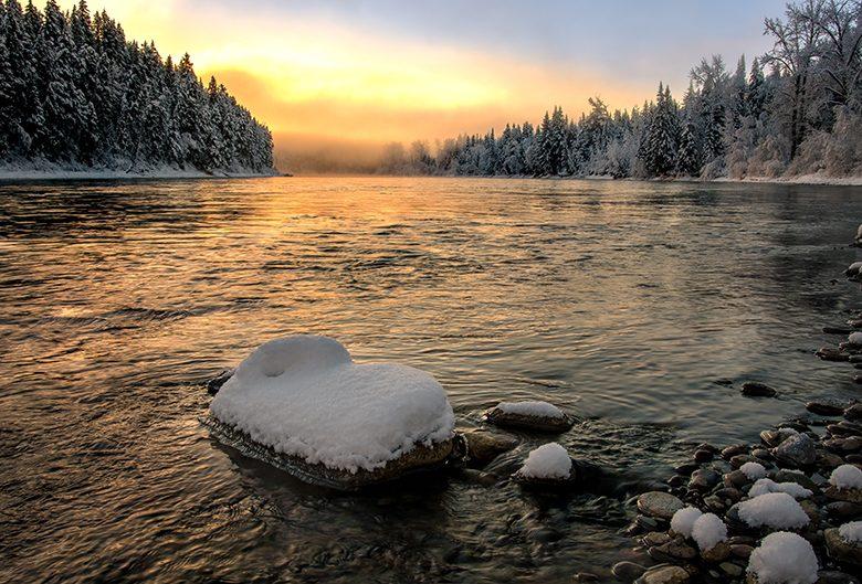 Sunset on the Nechako River.