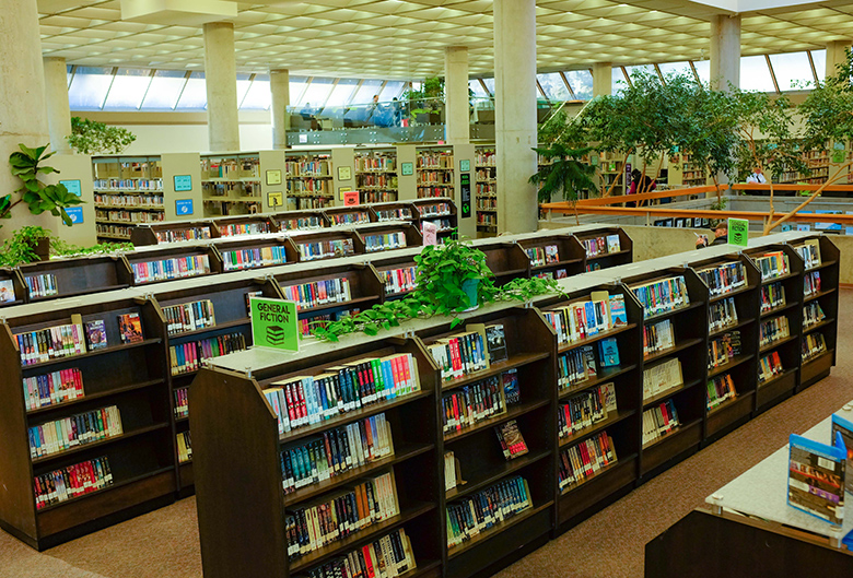 Library stacks.
