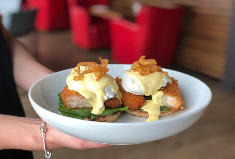 Eggs bennies with fried chicken.