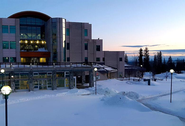 UNBC campus in winter.