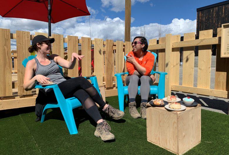 Women sitting on patio.